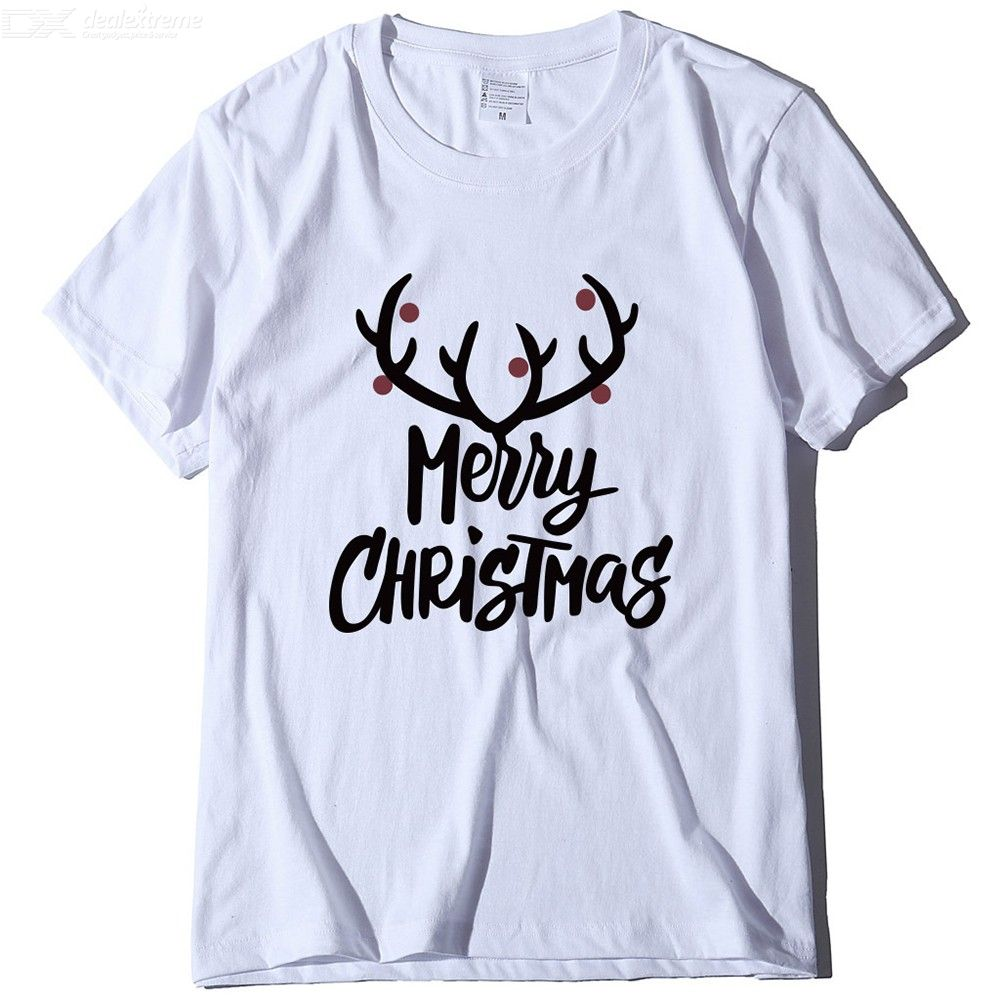 Funny T Shirt Women Graphic Tee Antlers Merry Christmas Printed T-Shirts Casual Fashion Short Sleeve Christmas Tops