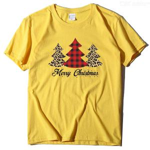 Christmas Tree Print Women T-Shirt Casual Short Sleeve Round Neck Tee Tops For Girls