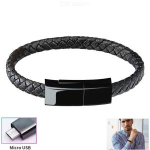 23cm Creative Micro USB Bracelet Wearable Phone Charging Cable Sync Data Transfer Leather Cord