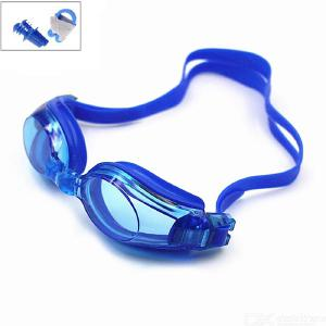 Swim Goggles Unisex Watertight Fog-Proof Silicone Swimming Goggles with Earplugs Nose Clip for Men Women Adult