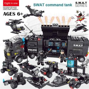 618PCS Military Police Fight Vehicle Building Blocks Set For Kids Boys, Easy Assembly Building Bricks Puzzle Educational Toy