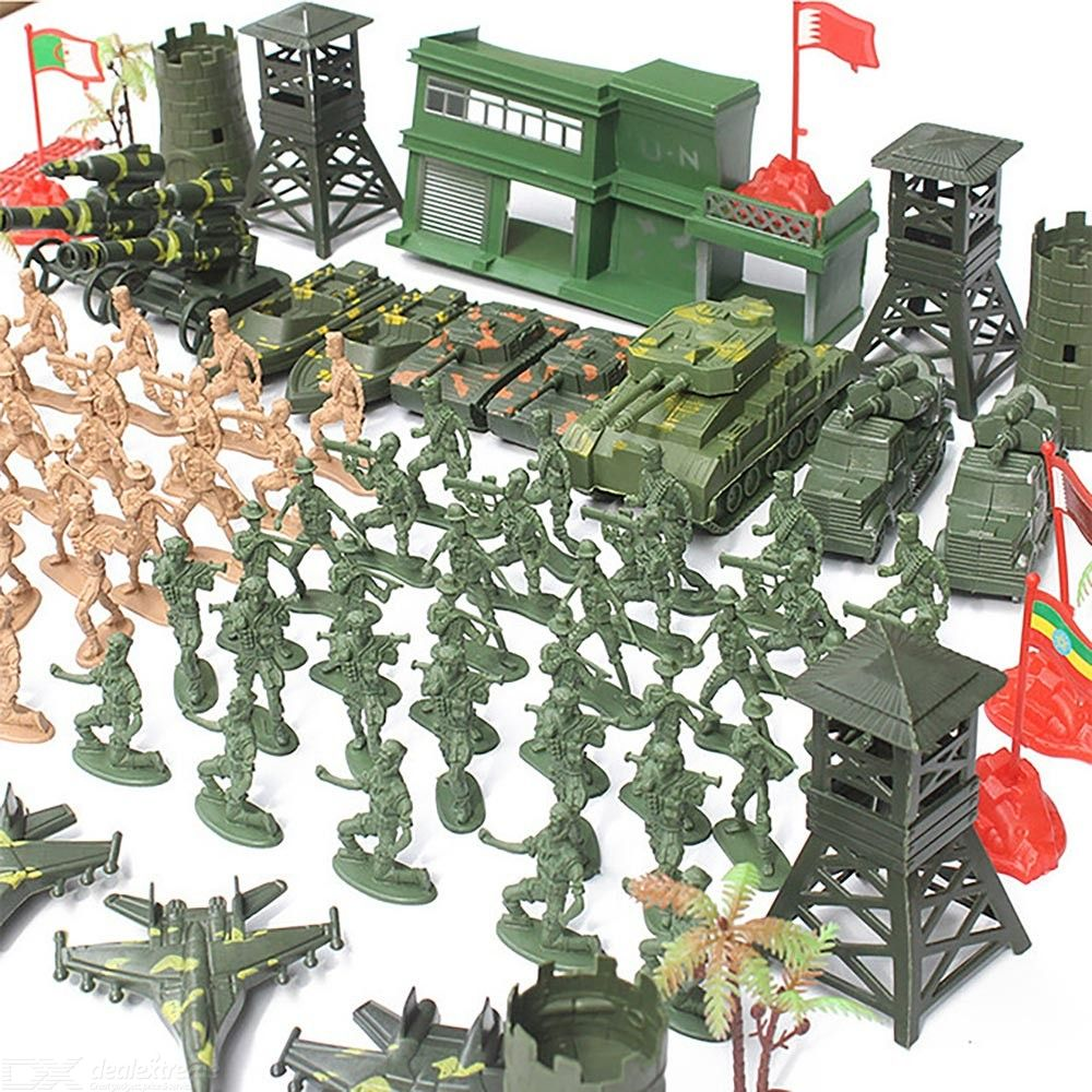 122PCS Mini Soldier Figures Set DIY 1:72 Military Soldier Model Easy Assembly Kids Toy Kit Home Ornament
