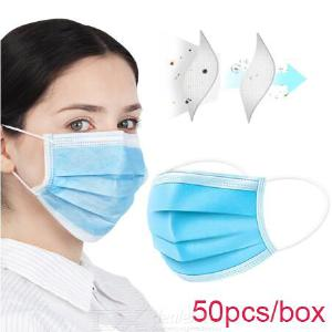 Disposable Face Mask Protection Non-woven Fabrics 50pcs/box 3 Ply Non Woven