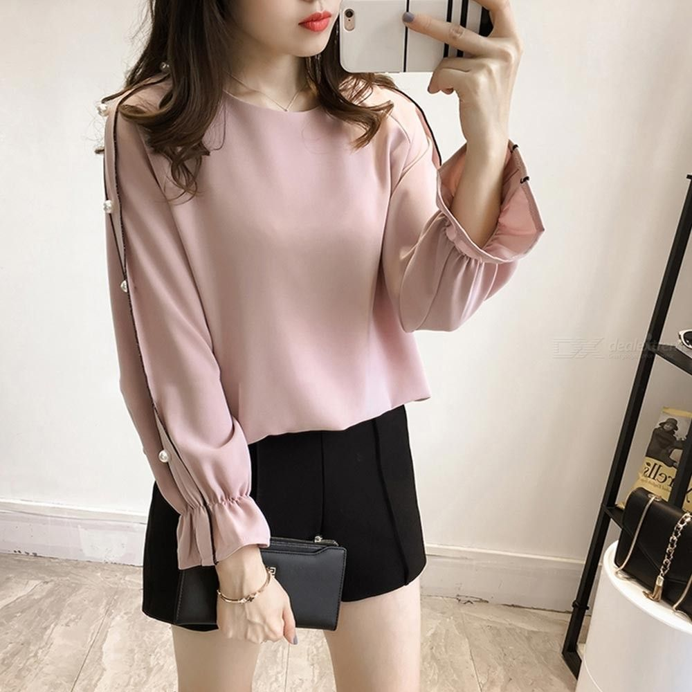 Women?s Chiffon Top Spring Summer Fashionable Elegant Solid Color Beaded Long Sleeve T-shirt