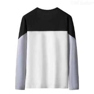 Mens Casual Fashion Patchwork T-Shirt Autumn Long Sleeve O-Neck Cotton Tops