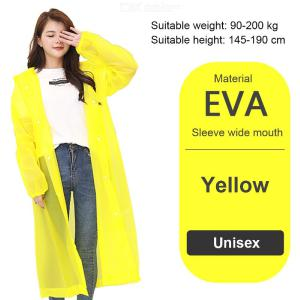 Unisex Raincoat Poncho For Adults Waterproof Portable Emergency Rain Coat With Hood Sleeves Thickened Reusable EVA Raincoat