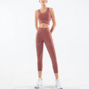 Women Yoga 2-Piece Set, Sports Bra Tank Top And High Wasit Tights Workout Fitness Pants For Girls