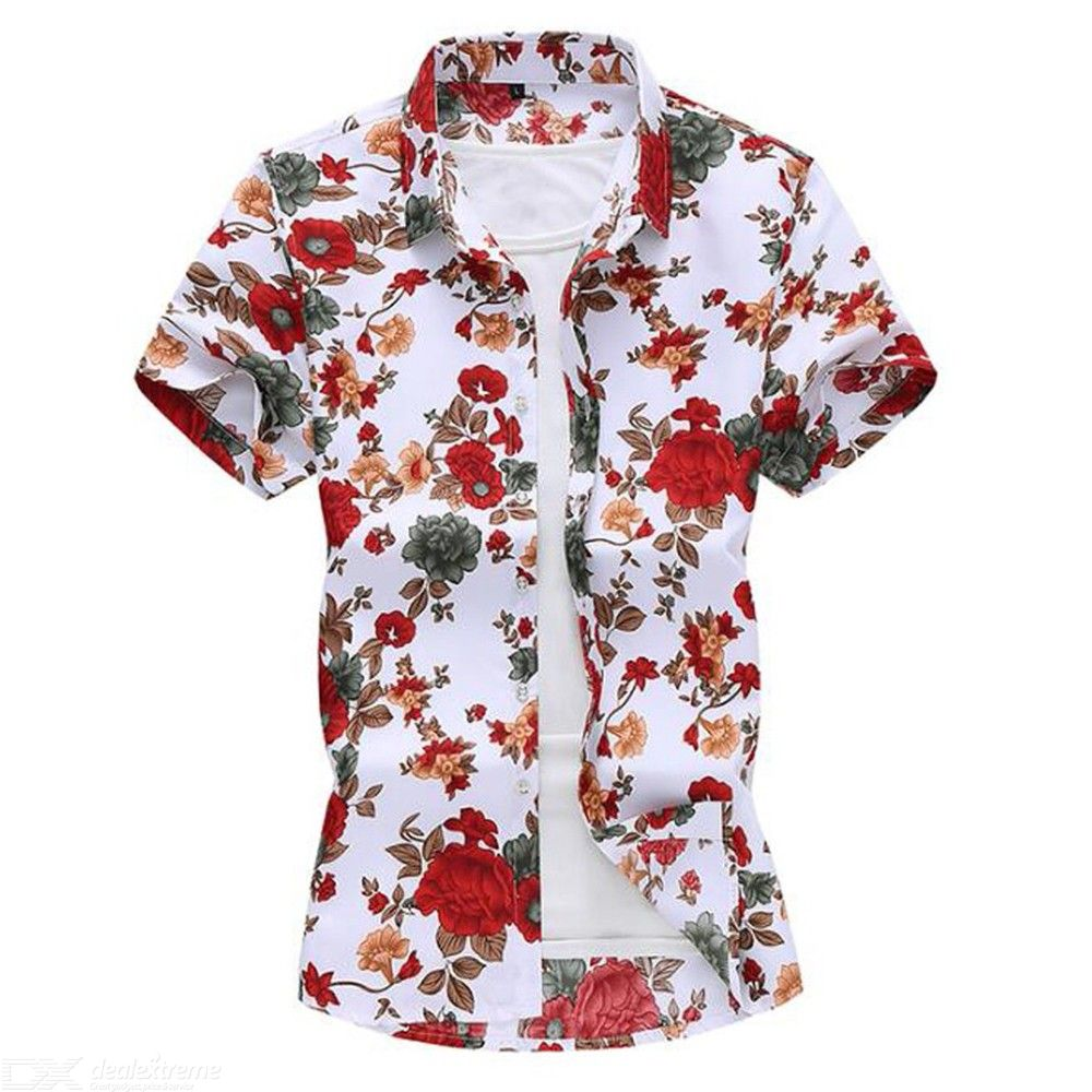 Mens Short Sleeve Floral Shirt Casual Button Down Slim Fit Beach T-shirts