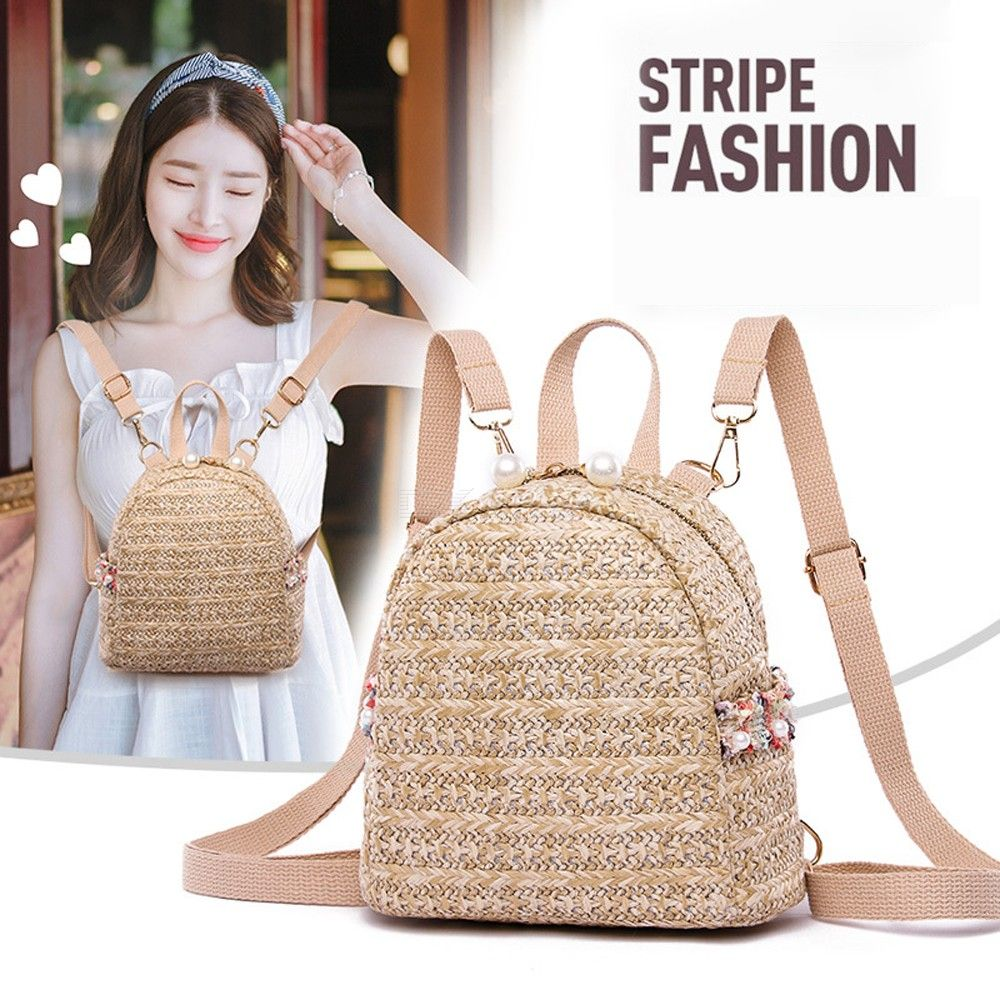 Fashionable Straw Woven Backpack Womens Casual Bag