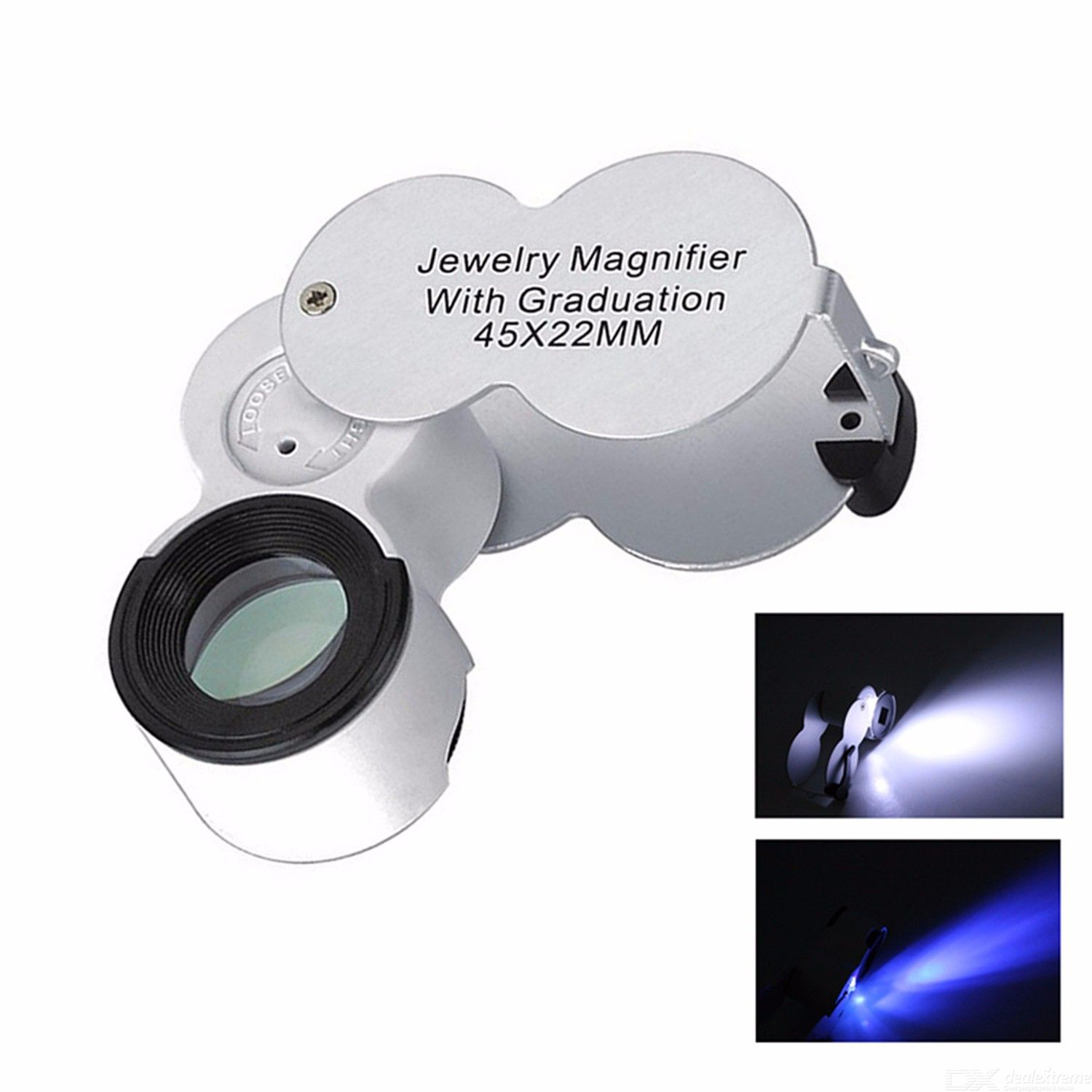 Durable Foldable 45X 22mm Jeweller Magnifying Glass, UV LED Light Magnifier Loupe