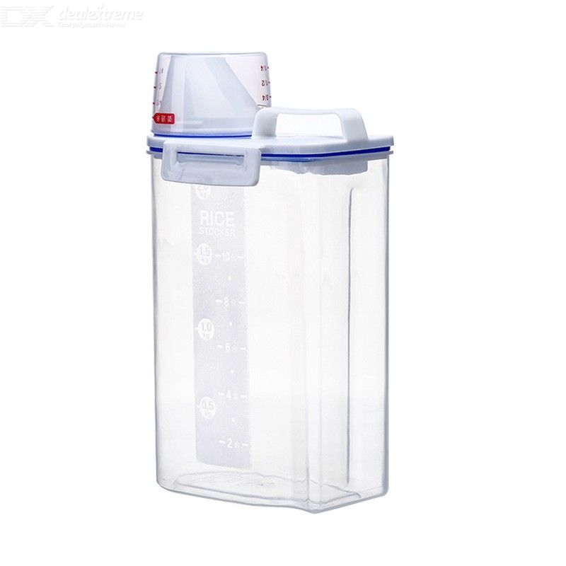Dry Food Container Clear BPA-Free Plastic Rice Container Easy-to-pour Cereal Storage Box With Airtight Lid Measuring Cup