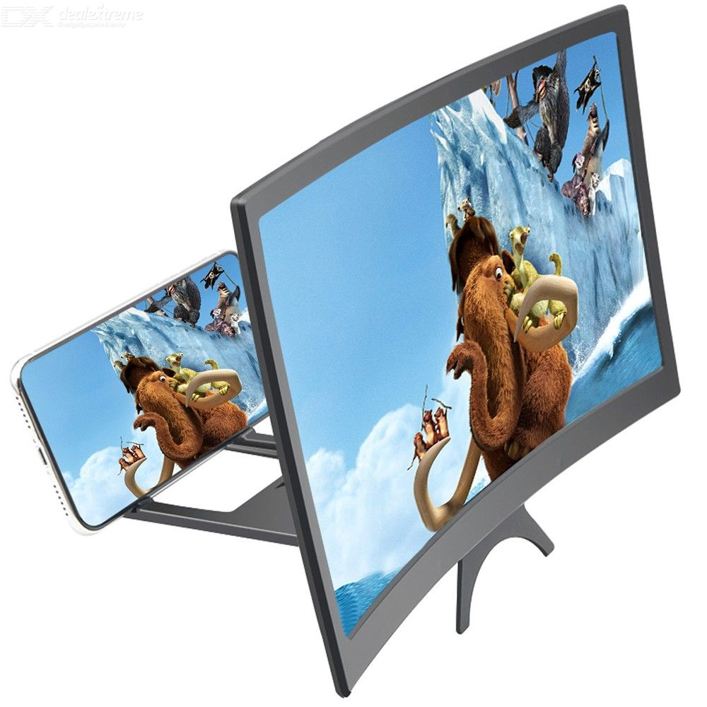12 Inch Curved 3D HD Phone Screen Magnifier Movie Video Amplifer With Phone Holder For Smartphones Below 6.5 Inches