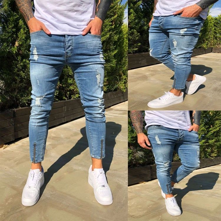 Premium Men Cropped Distressed Jeans Zipper Skinny Ripped Jeans Slim Ankle-Length Pants
