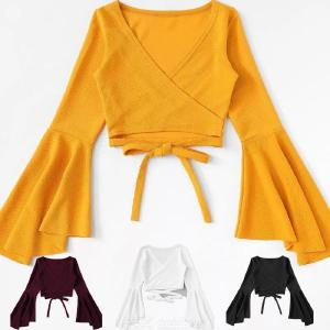 Womens Sexy V-Neck Blouse Long Flare Sleeves Tie Front Tops Casual Fashion Solid Color Short Shirt