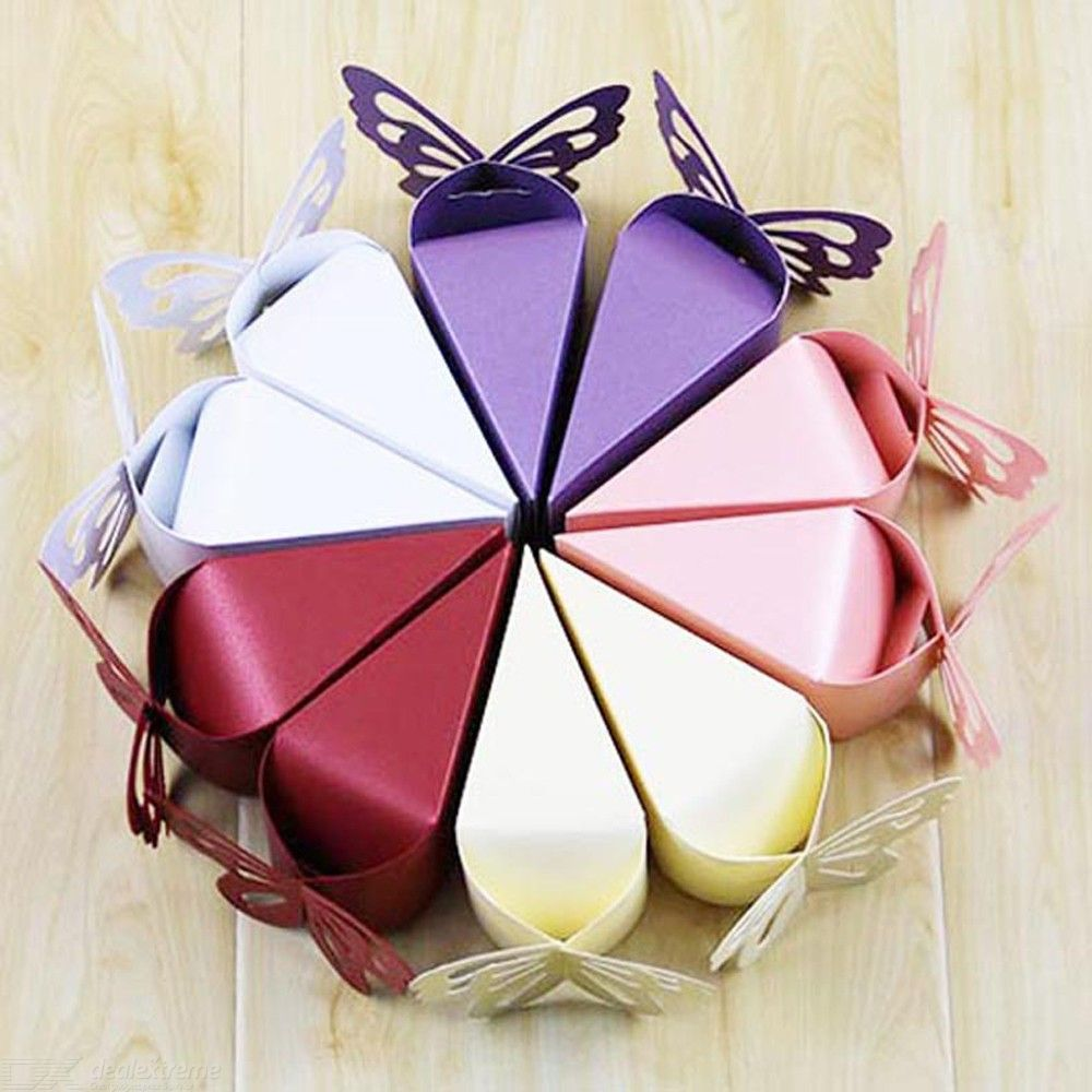 Paper Gift Boxes Cake Shaped Chocolate Candy Boxes Favour Boxes For Wedding Banquet Birthday Engagement Party, 20PCS