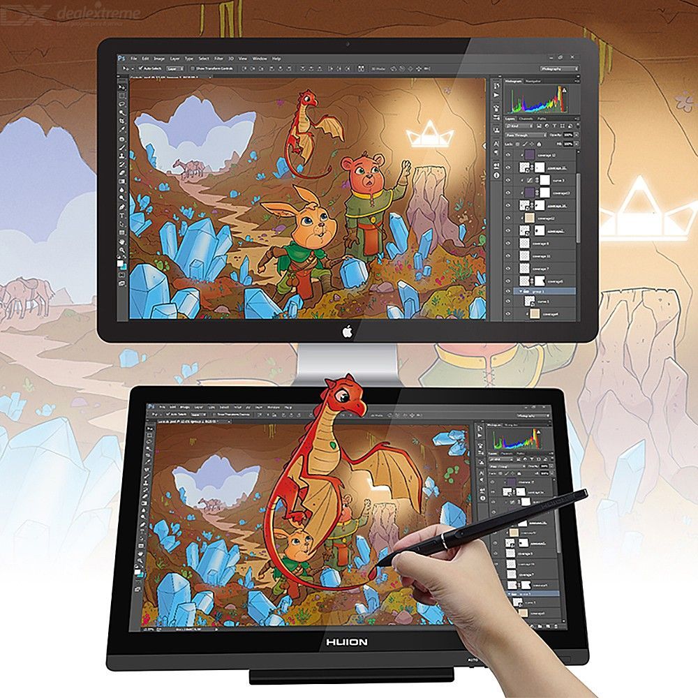Original HUION Kamvas GT-191 Pen Tablet Monitor 8192 Pressure Levels 19.53 Inch Graphic Drawing Pen Display Monitor