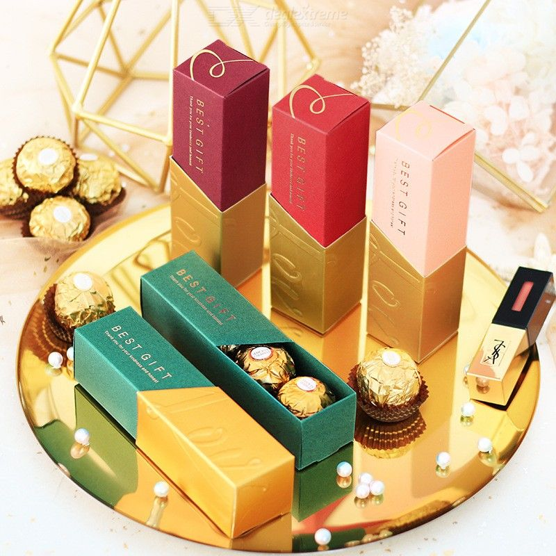 Paper Gift Boxes Lipstick Shaped Chocolate Candy Boxes Favour Boxes For Wedding Banquet Birthday Engagement Party, 10PCS