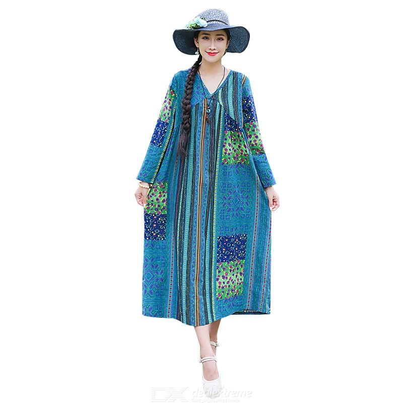 Women?s Maxi Dress Cover Ups Spring Ethnic Style Cotton Linen Baggy Long Sleeve V-neck Printed Dress For Beach Holiday Travel