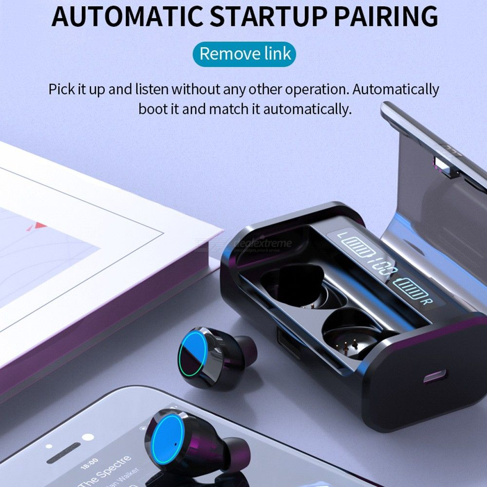 G06 AAC LED Wireless Bluetooth 5.0 Earphone TWS Power Display 3D Stereo Noise Cancelling Touch Earbuds with 4000mAh Charging Box