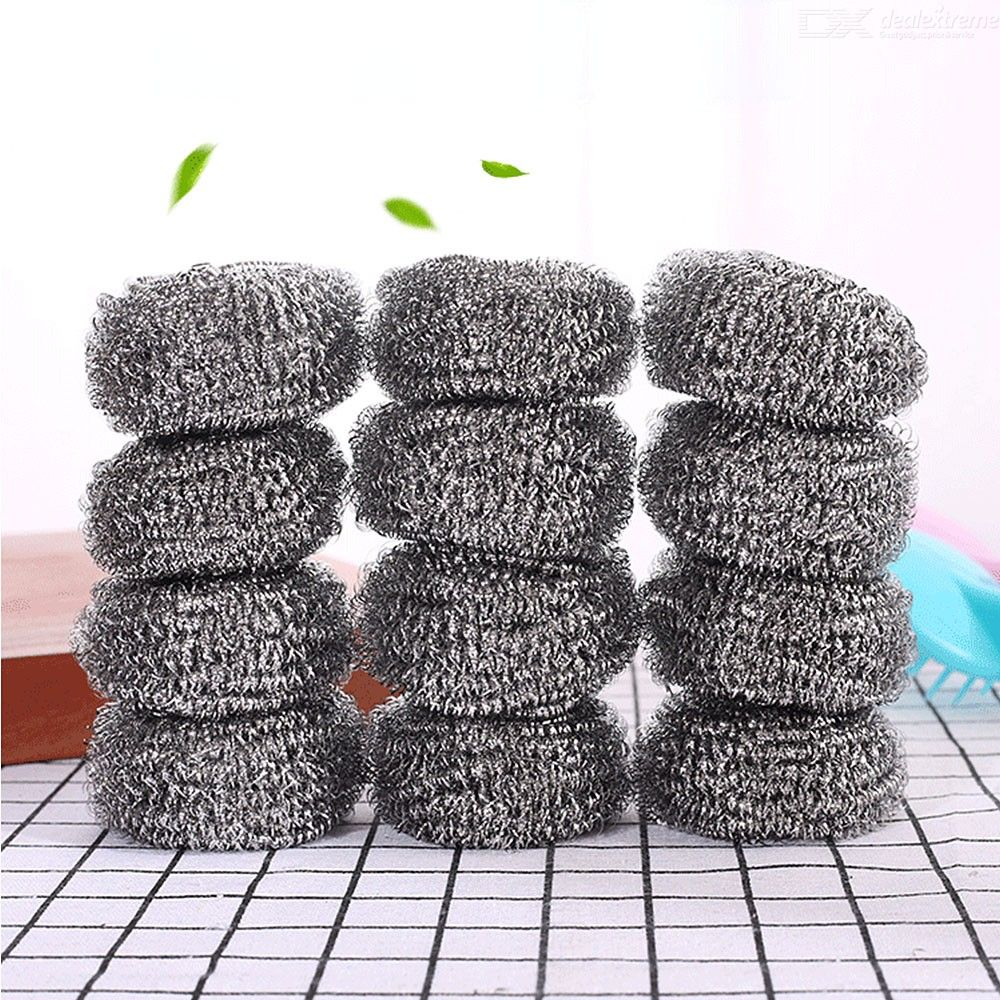 Stainless Steel Scrubbers Scrubbing Scouring Pad Steel Wool Scrubber With Handle For Kitchens Bathroom And More