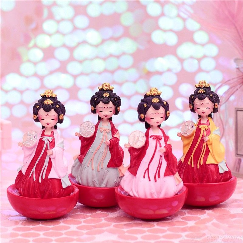 Tang Dynasty Traditional Chinese Court Style Lady Tumbler Girl Figurine Resin Craftwork Home Ornament