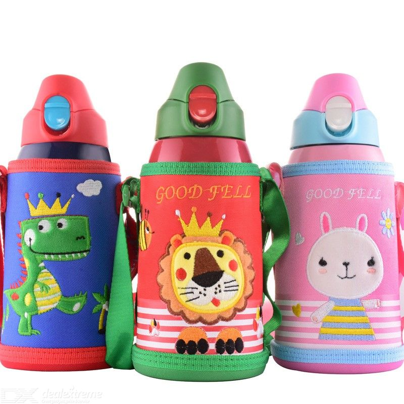 620ML Cartoon Childrens Vacuum Flask 316 Stainless Steel Thermos Cup With Straws And 4PCS Cup Lids For Kids