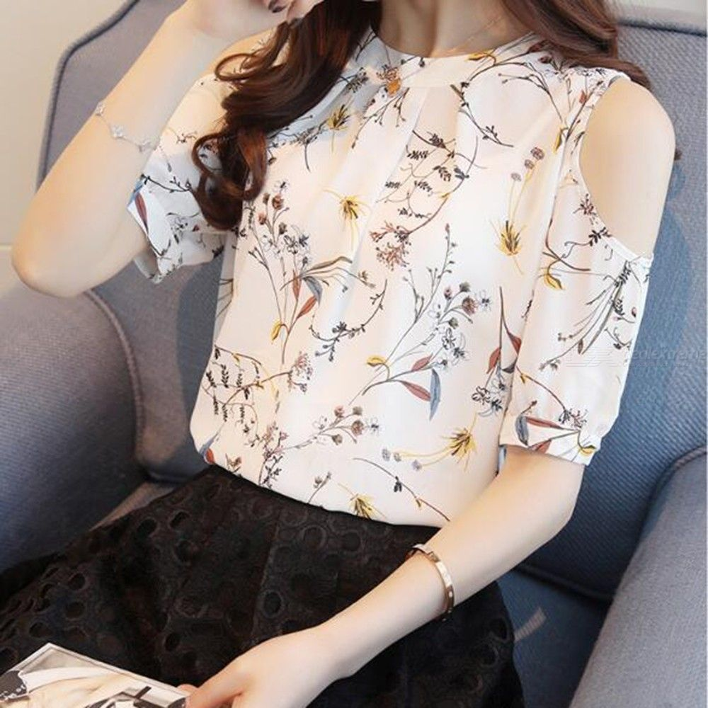 Women's Chiffon T-Shirt Summer Fashionable Sweet Short Sleeve Off-The-Shoulder Floral Printed Top