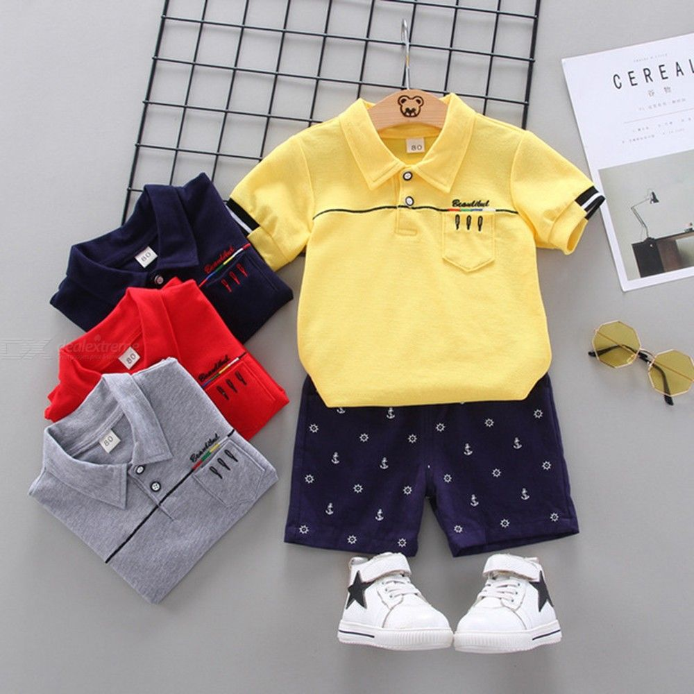 Kids Boy 2 Pieces Outfit T-shirt And Short Set For Toddler 1-4-year-old