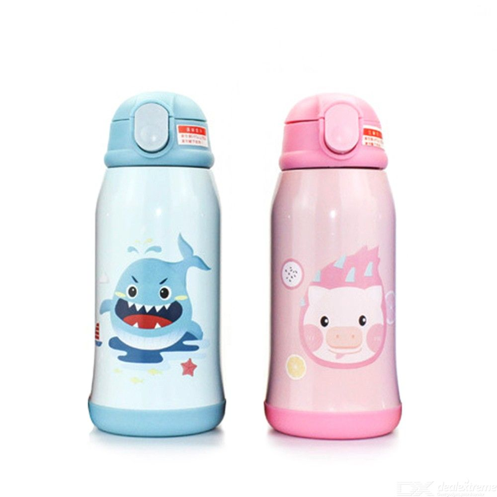 600ML Cartoon Kids Vacuum Flask Stainless Steel Thermos Cup With Straws For Children