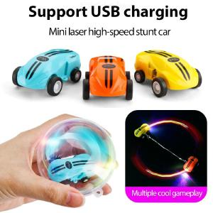 Mini High-speed Stunt Auto 360 Roterende Laser Chariot Stunt Racing Model Auto Speelgoed Voor Kinderen Opladen Via USB