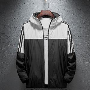 Casual Thin Zipper Sports Jacket Windproof Color Block Hooded Outdoor Jacket For Teenager Men Spring Autumn