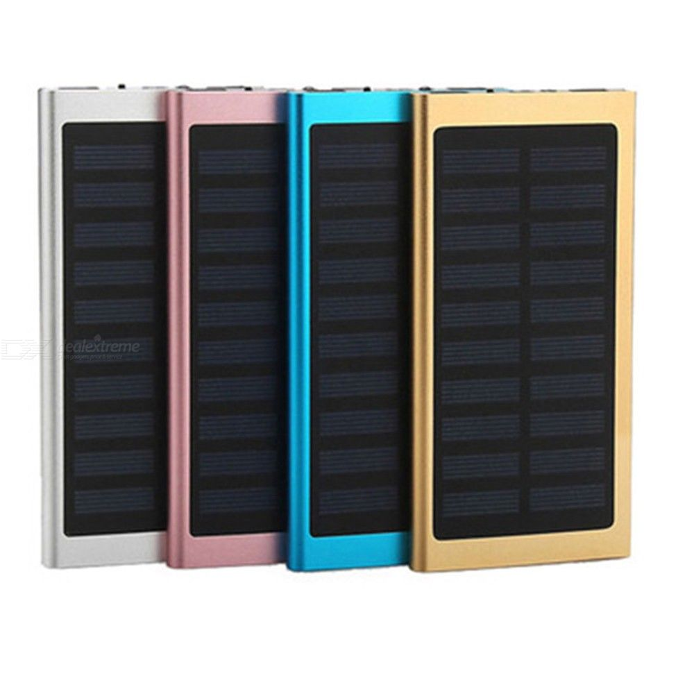 10000mAh Portable Solar Power Bank Fast Charger Dual USB External Battery Pack With LED Flashlight