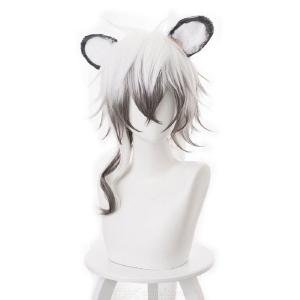 Cosplay Wig Synthetic Hair White Ombre Ash Black Short Hair Wig With Ears For Men Anime Cosplay Costume