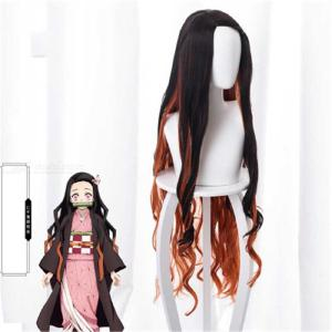 Cosplay Wig Synthetic Hair Natural Black Ombre Claybank Long Curly Hair Wig For Anime Cosplay Costume