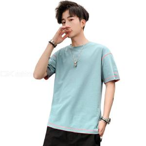 Men's Cotton T-shirt Summer Fashionable Casual Loose Solid Color Round Neck Short Sleeve T-shirt Top