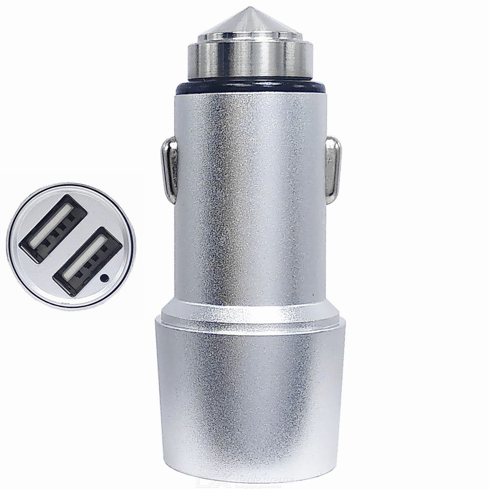 5V 2.4A Dual USB Stainless Steel Safety Hammer Fast Car Charger / 12-24V