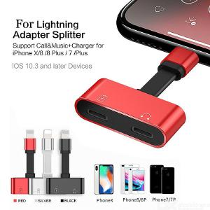 Portable 1 to 2 Converter Charging and Listening for Lightning Headphone Jack Adapter for Apple IPHONE