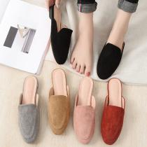Womens Retro Style Suede Flats Casual Solid Color Slip On Slippers Flat Backless Fashion Ladies Shoes