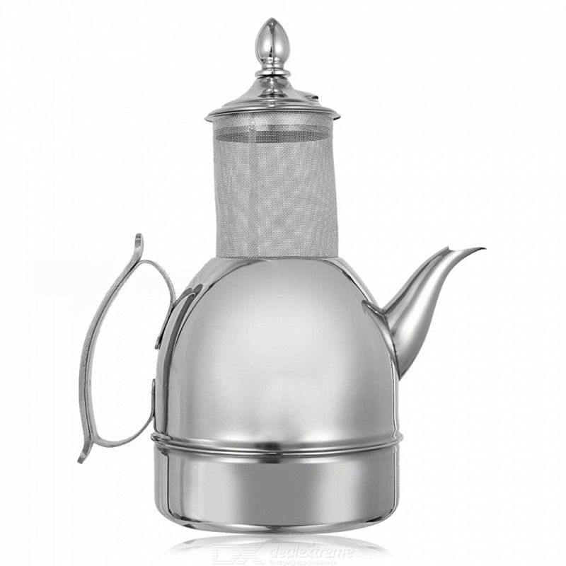 1L Thickened Stainless Steel Wishful Pot / Flagon / Teapot / Coffee Pot with Filter - Silver