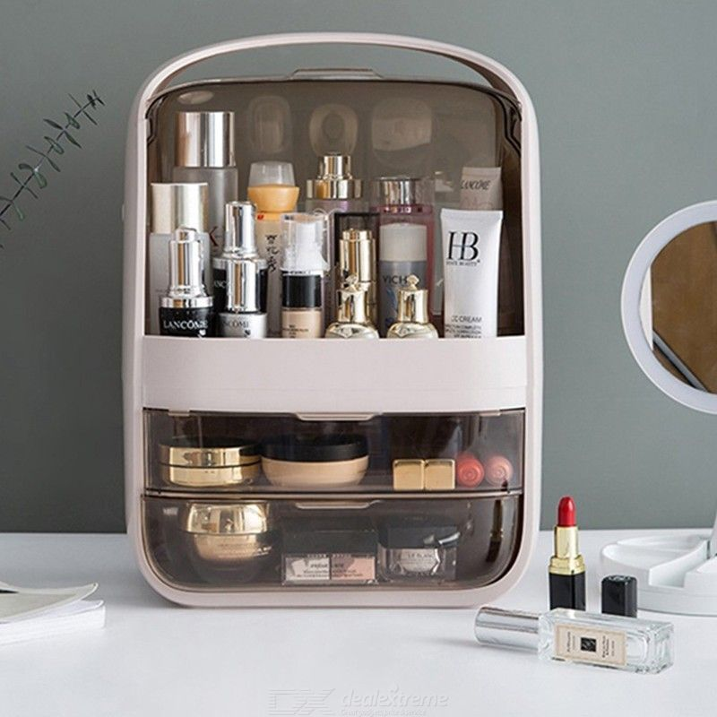 Fashion New Makeup Organizer Large Capacity Waterproof and Dustproof Bathroom Cosmetic Storage Box Desktop Beauty Storage Drawer