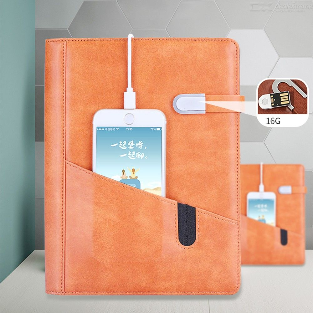 Multifunctional 8000mAh Mobile Power Bank A5 Spiral Notebook With 16G U-Disk And 0.5mm Sign Pen