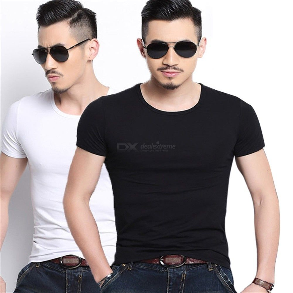 Mens Casual Slim Fit Short Sleeve T-Shirts Summer Soft Fashion Solid Color Cotton Tee Tops