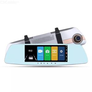 Q8 7-Inch Touch Screen Car DVR Rearview Mirror Dashcam 1080P Dual Lens Reversing Dash Camera With Night Vision