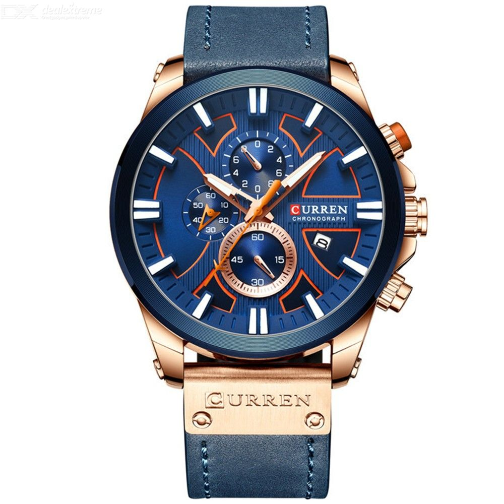 CURREN 8346 30m Waterproof Sports Men Quartz Wristwatch, Leather Band Watch With 3 Sub-dial And Calendar
