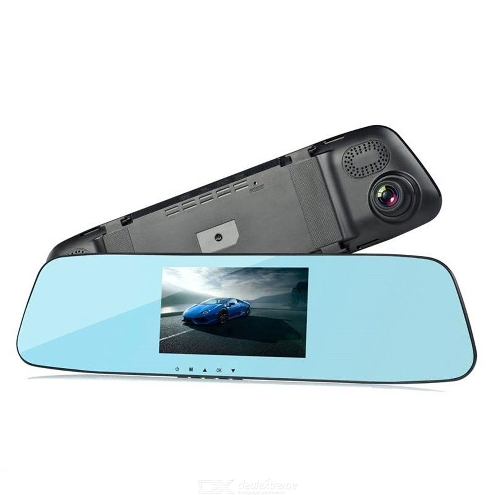 H430 4.3 Inch Touch Screen Car DVR, Rearview Mirror Dashcam 1080P Dual Lens Parking Monitoring Dash Camera With Night Vision