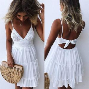 Women's Mini Dress Summer Fashionable Sexy Solid Color V-neck Backless Spaghetti Strap Dress Lace Piecing Ruffled A-line Dress