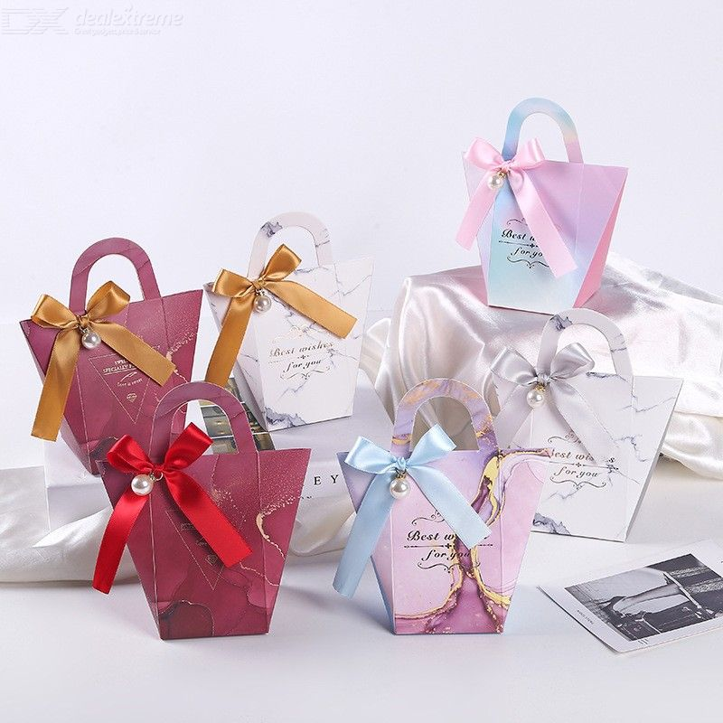 20PCS Paper Gift Boxes, European Handbag Shape Chocolate Candy Box With Ribbon And Pearl For Wedding Birthday Engagement Party