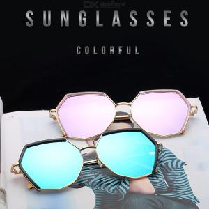 Polygon Oversized Polarized Sunglasses For Women Stylish Vintage Metal Frame UV400 Lens Sun Glasses