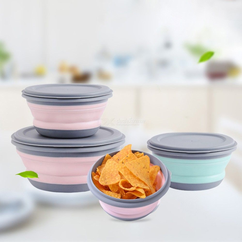 3PCS Folding Bowl Outdoor Camping Tableware Set, Lunch Box Portable Salad Bowl with Lid
