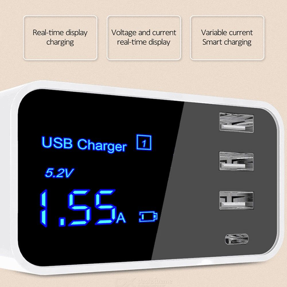 Quick Charge Type C USB Charger HUB LED Display Wall Charger Fast Mobile Phone Charger USB Adapter For iPhone X XS